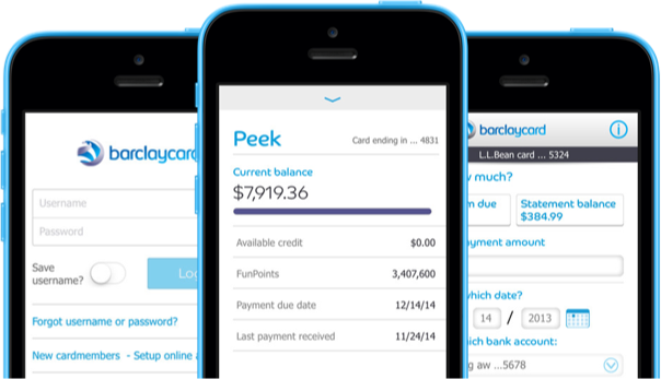 Screen images of the Barclaycard mobile app